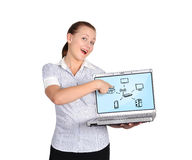 Laptop with computer network Stock Photo