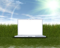 Laptop Computer On The Green Grass
