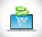 Laptop computer online shopping sign illustration Stock Photography