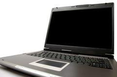 Laptop computer op een geïsoleerden lijstclose-up Stock Afbeelding