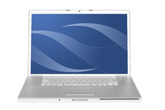 Laptop computer op wit Stock Foto