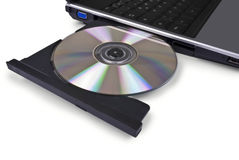 Laptop computer with open optical disk drive, cd, Royalty Free Stock Images