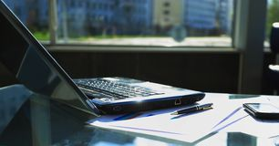 Laptop computer with open top. Stock Images
