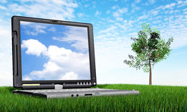 Laptop computer outdoors Stock Photos