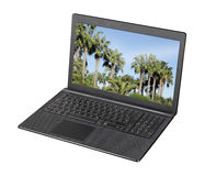 Laptop. Computer with palm display screen saver Stock Photo