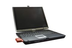 Laptop computer pc technology. Opened laptop with a conection card Royalty Free Stock Images