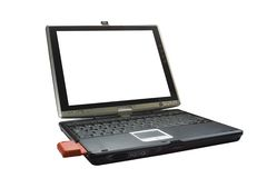 Laptop computer pc technology. Opened laptop with a conection card Royalty Free Stock Image