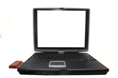 Laptop computer pc technology. Opened laptop with a conection card Royalty Free Stock Photos