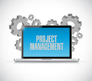 Laptop computer project management sign concept Royalty Free Stock Photography