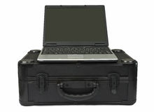 Laptop computer on protective case. White background stock photography