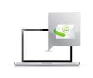 Laptop computer receiving mail illustration Royalty Free Stock Image