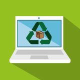 Laptop computer with recycle symbol Stock Photography
