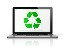 Laptop computer with a recycling symbol on screen. environmental Stock Photos