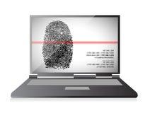 Laptop computer scanning a finger print. Illustration design over white Stock Images