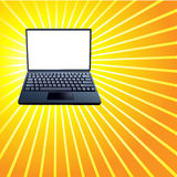 Laptop Computer Shiny Yellow Rays Background Stock Photography