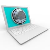 Laptop-Computer - sicherer Vorwahlknopf für Sicherheit stock abbildung
