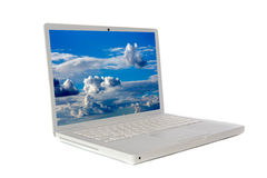Laptop computer sideways Stock Images