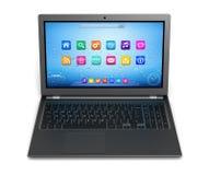 Laptop computer single 3d illustration. Modern laptop computer single 3d illustration isolated Stock Images