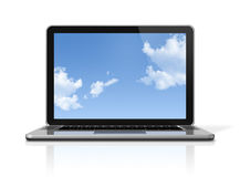 Laptop computer with sky screen isolated on white Royalty Free Stock Photography