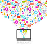 Laptop Computer With Social Media Icons On White Background Network Communication Concept Stock Image