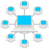 Laptop-Computer - Sozialnetz-Rasterfeld vektor abbildung
