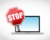 Laptop computer and a stop sign. illustration Royalty Free Stock Photos