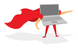Laptop or computer super hero standing with cape Royalty Free Stock Images