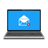 Laptop computer with symbol of email receiving. Laptop with email letter on screen. Email marketing, internet advertising concepts. Vector illustration Stock Photos