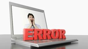 ERROR on laptop computer - 3D rendering video vector illustration