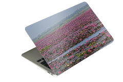 Laptop computer tablet with case photo sticker on isolated backg Royalty Free Stock Photos