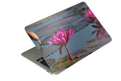 laptop computer tablet with case photo sticker on isolated backg Stock Photography