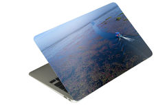 laptop computer tablet with case photo sticker on isolated backg Stock Image