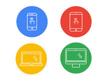 Laptop computer, tablet, mobile with finger gesture and cursor v. Laptop computer, tablet, mobile with finger gesture and cursor colorful flat icon set Stock Photography