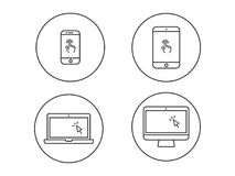 Laptop computer, tablet, mobile with finger gesture and cursor v. Ector line icon Stock Image
