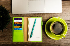 Laptop computer, tablet pc, planner, pen, mobil Royalty Free Stock Photos