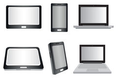 Laptop Computer, Tablet and Smart Phone Vector Isolated on White Royalty Free Stock Images