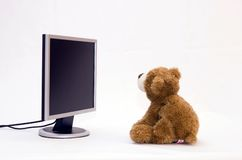 LAPTOP COMPUTER and TEDDY BEAR. Teddy Bears are surfing on the Internet Royalty Free Stock Photography