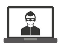 laptop computer with thief  isolated icon design Stock Photography