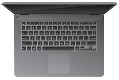 Laptop Computer, Top Down View, Keyboard, Realistic Vector Illustration. Sharp illustration of a generic laptop, at a cool top down view, typical style QWERTY stock illustration