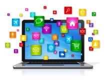 Laptop-Computer und Fliegen apps Ikonen Stockbilder