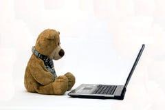 LAPTOP-COMPUTER und TEDDYBÄR Stockfotografie