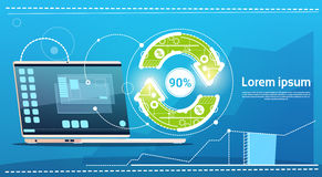 Laptop Computer Update Arrow Finance Success Concept Stock Photos
