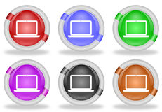 Laptop Computer Web Icon Button. Set of laptop computer web icon buttons with beveled white rims in six pastel colors - red, blue, green, pink, black and brown Stock Images