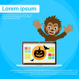 Laptop Computer Werewolf Halloween Monster Wild Stock Image