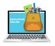 Free Laptop Computer With Backpack Full Of School Supplies, Vector Illustration. Online Education, Distance Learning. Stock Images - 215227994
