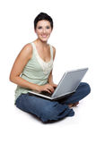 Laptop Computer Woman. Beautiful isolated laptop computer woman Stock Images