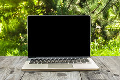 Laptop computer on wood workspace and park background Royalty Free Stock Photos