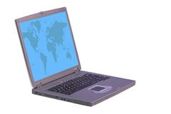 Laptop computer with world on screen Royalty Free Stock Photos