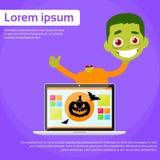 Laptop Computer Zombie Boy Scary Cartoon Character Stock Photos