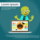 Laptop Computer Zombie Boy Scary Cartoon Character Stock Image
